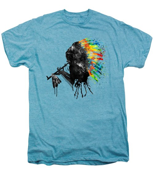 Indian Silhouette With Colorful Headdress Men's Premium T-Shirt