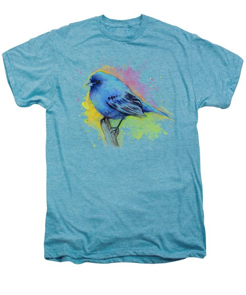 Indigo Bunting Blue Bird Watercolor Men's Premium T-Shirt by Olga Shvartsur