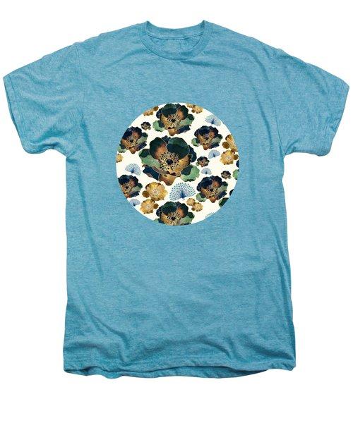 Indigo Flowers And Peacocks Men's Premium T-Shirt