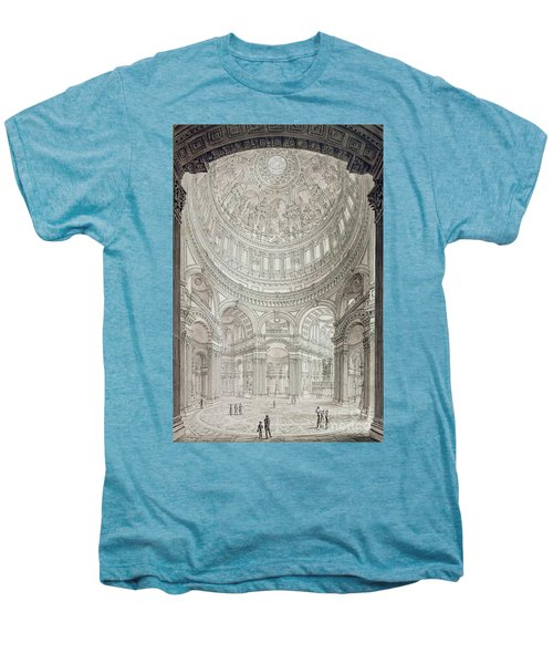 Interior Of Saint Pauls Cathedral Men's Premium T-Shirt by John Coney