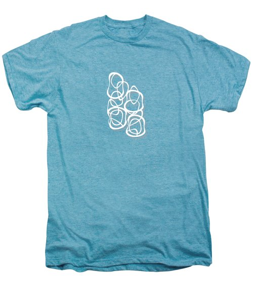 Interlocking - White On Soft Gray Owl - Pattern Men's Premium T-Shirt