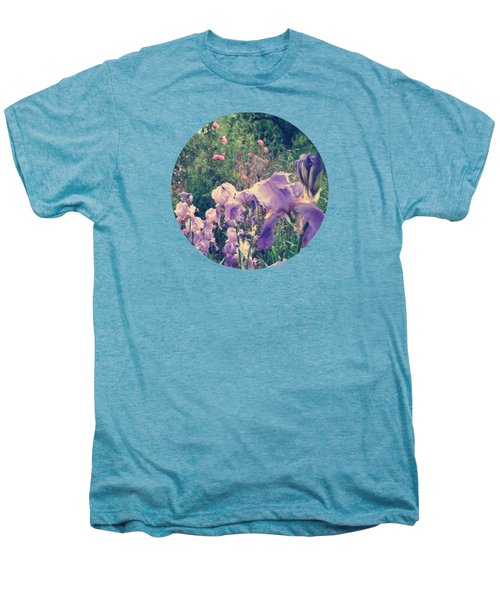 Irises And Roses In The Garden Men's Premium T-Shirt by Mary Wolf