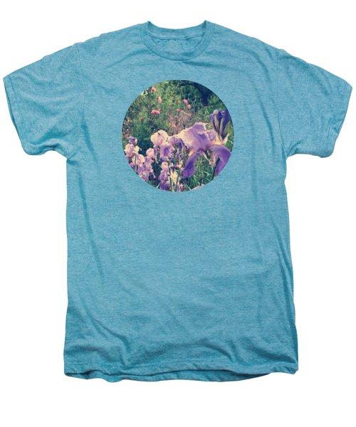Irises And Roses In The Garden Men's Premium T-Shirt