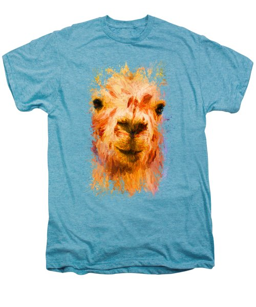 Jazzy Llama Colorful Animal Art By Jai Johnson Men's Premium T-Shirt by Jai Johnson