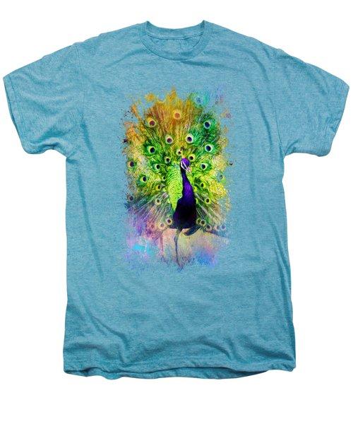 Jazzy Peacock Colorful Bird Art By Jai Johnson Men's Premium T-Shirt