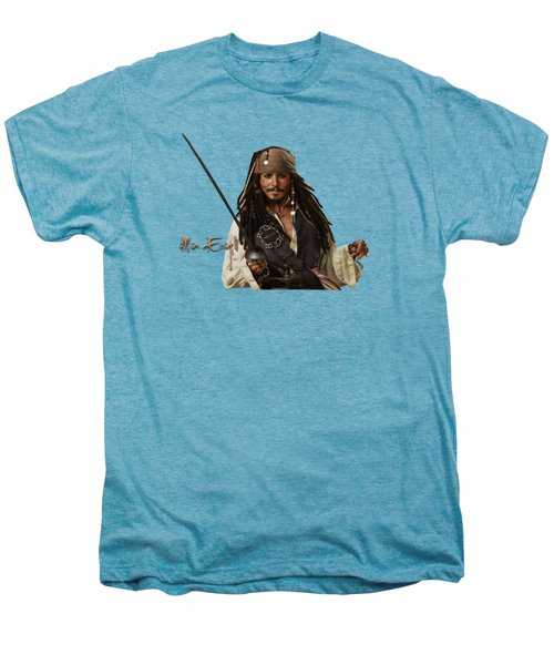 Johnny Depp, Pirates Of The Caribbean Men's Premium T-Shirt by Maria Astedt