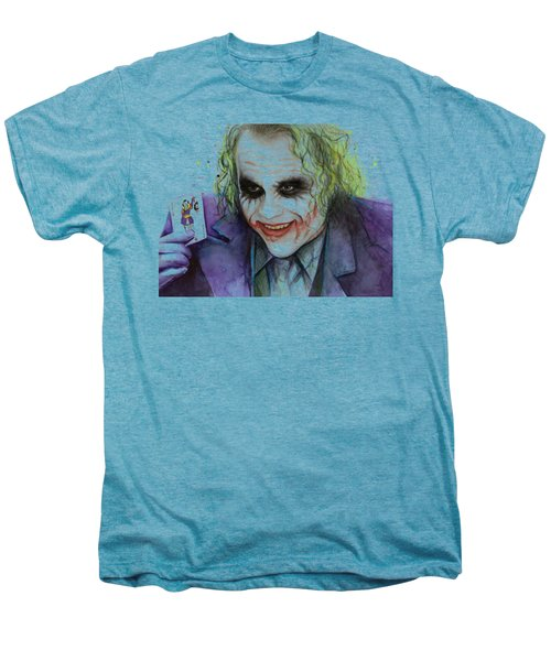 Joker Watercolor Portrait Men's Premium T-Shirt by Olga Shvartsur