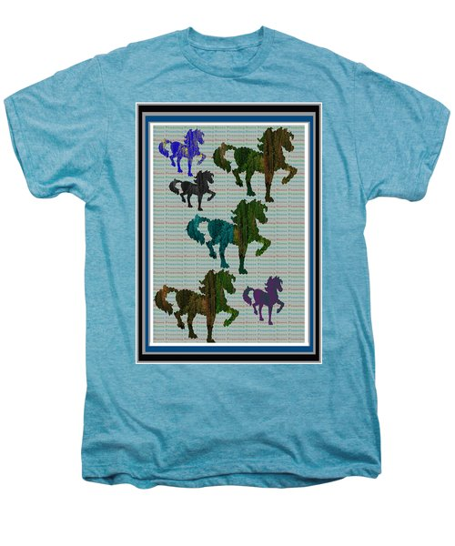 Kids Fun Gallery Horse Prancing Art Made Of Jungle Green Wild Colors Men's Premium T-Shirt