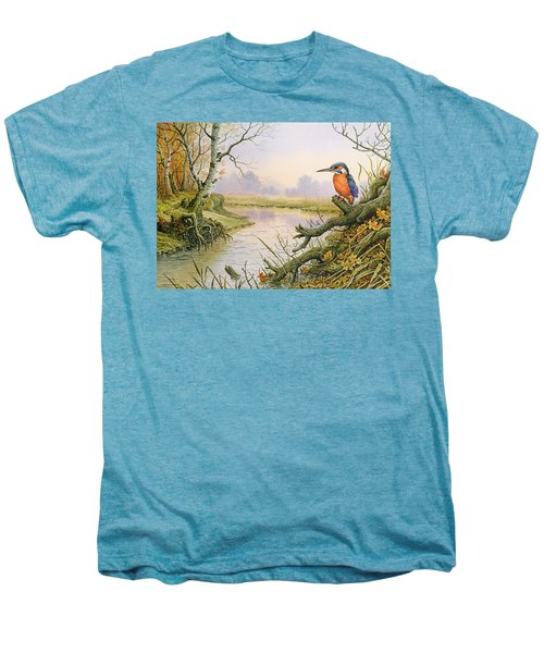 Kingfisher  Autumn River Scene Men's Premium T-Shirt