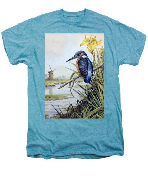 Kingfisher With Flag Iris And Windmill Men's Premium T-Shirt by Carl Donner