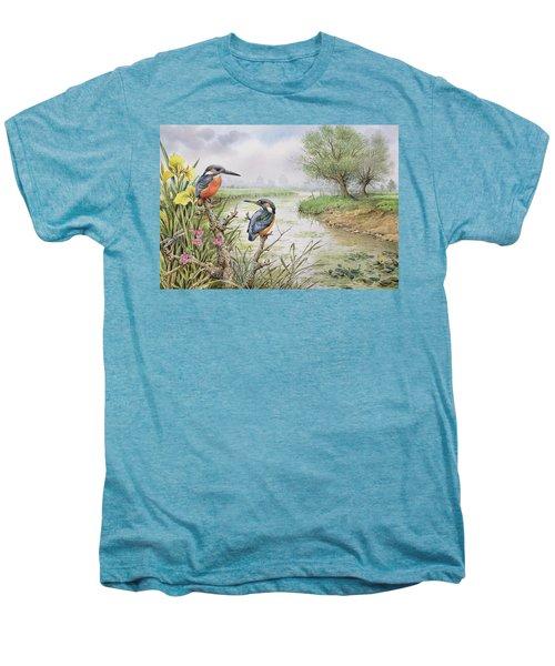 Kingfishers On The Riverbank Men's Premium T-Shirt