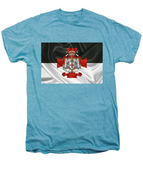 Knights Templar - Coat Of Arms Over Flag Men's Premium T-Shirt by Serge Averbukh