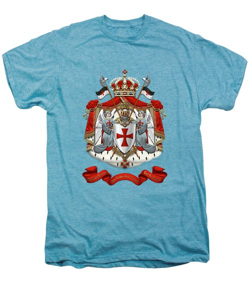 Knights Templar - Coat Of Arms Over White Leather Men's Premium T-Shirt by Serge Averbukh