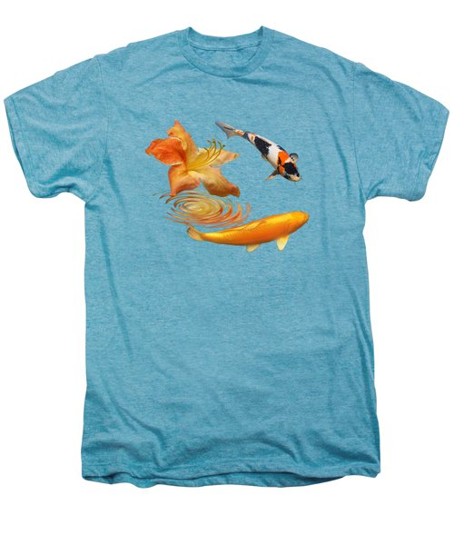 Koi With Azalea Ripples Men's Premium T-Shirt by Gill Billington
