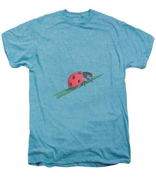 Ladybug Art Print, Ladybug Painting, Garden Nursery Print Art, Red Wall Decor, Garden Wall Art Men's Premium T-Shirt