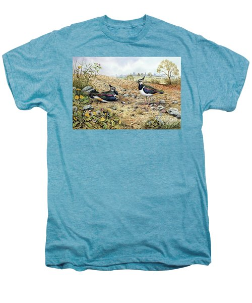 Lapwing Family With Goldfinches Men's Premium T-Shirt by Carl Donner