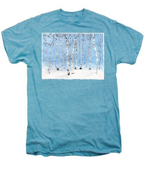 Late Afternoon Snowstorm In The Forest Men's Premium T-Shirt