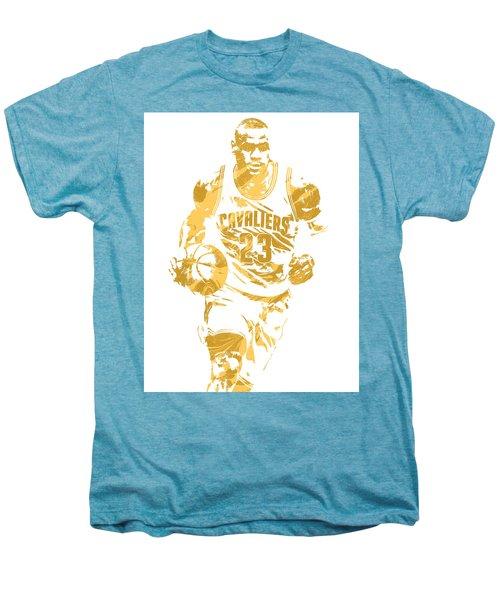 Lebron James Cleveland Cavaliers Pixel Art 7 Men's Premium T-Shirt by Joe Hamilton
