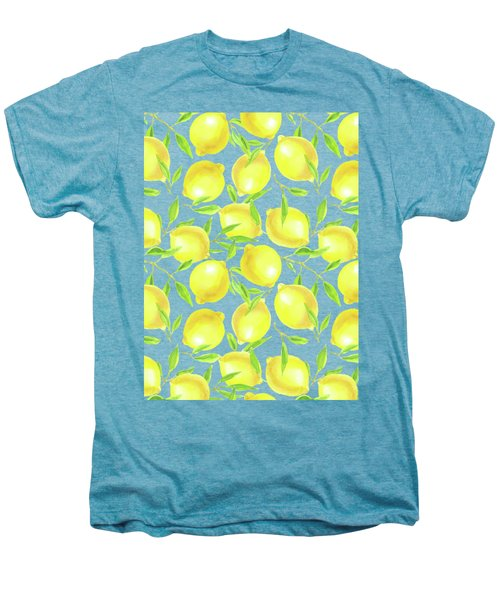 Lemons And Leaves  Pattern Design Men's Premium T-Shirt