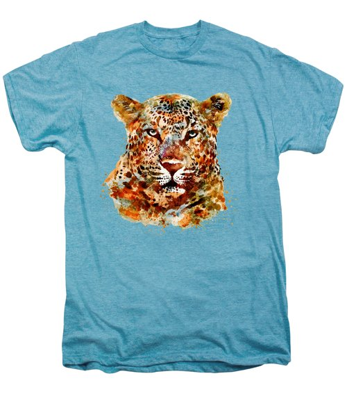 Leopard Head Watercolor Men's Premium T-Shirt by Marian Voicu