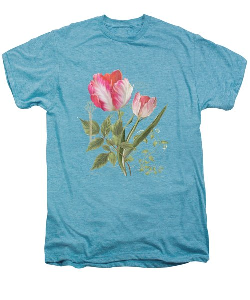 Les Magnifiques Fleurs I - Magnificent Garden Flowers Parrot Tulips N Indigo Bunting Songbird Men's Premium T-Shirt by Audrey Jeanne Roberts