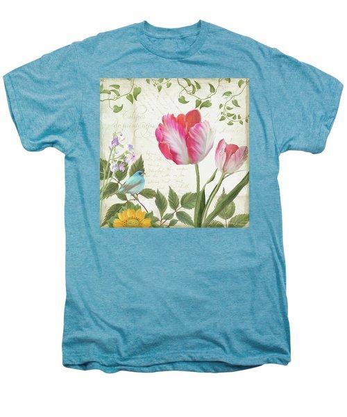 Les Magnifiques Fleurs IIi - Magnificent Garden Flowers Parrot Tulips N Indigo Bunting Songbird Men's Premium T-Shirt by Audrey Jeanne Roberts