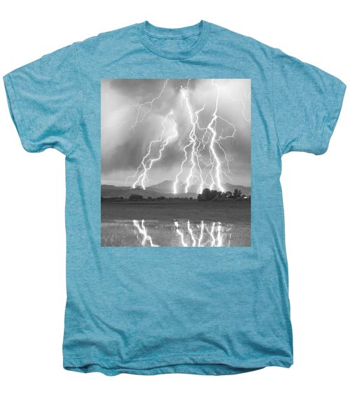 Lightning Striking Longs Peak Foothills 4cbw Men's Premium T-Shirt