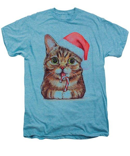 Lil Bub Cat In Santa Hat Men's Premium T-Shirt by Olga Shvartsur