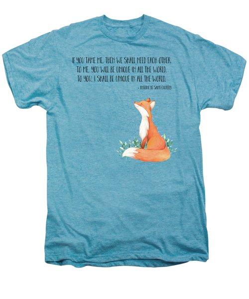 Little Prince Fox Quote, Text Art Men's Premium T-Shirt