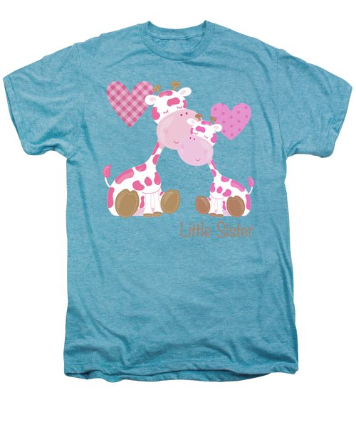 Little Sister Cute Baby Giraffes And Hearts Men's Premium T-Shirt by Tina Lavoie
