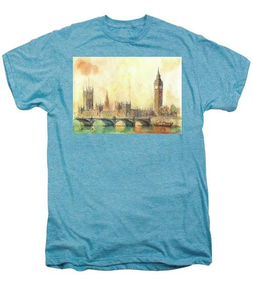 London Big Ben And Thames River Men's Premium T-Shirt