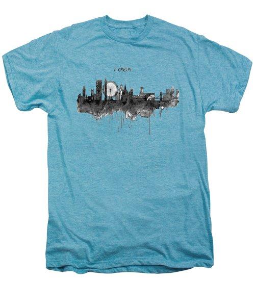 London Black And White Skyline Watercolor Men's Premium T-Shirt