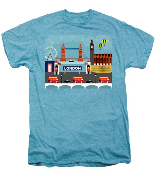 London England Horizontal Scene - Collage Men's Premium T-Shirt