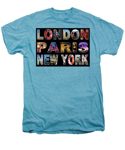 Men's Premium T-Shirt featuring the digital art London Paris New York, Black Background by Adam Spencer