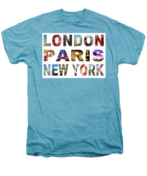 Men's Premium T-Shirt featuring the digital art London Paris New York, White Background by Adam Spencer