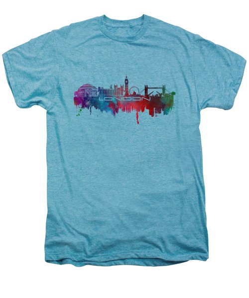 London Skyline City Blue Men's Premium T-Shirt by Justyna JBJart