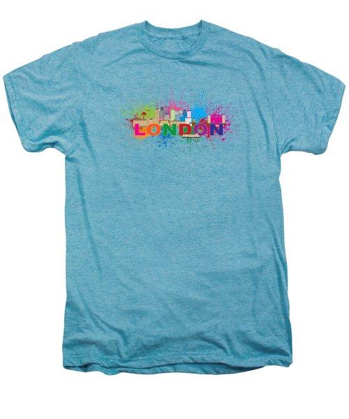 London Skyline Paint Splatter Text Illustration Men's Premium T-Shirt