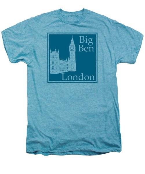 London's Big Ben In Blue Lagoon Men's Premium T-Shirt by Custom Home Fashions