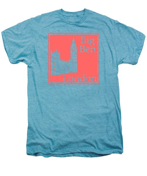 London's Big Ben In Coral Pink Men's Premium T-Shirt by Custom Home Fashions