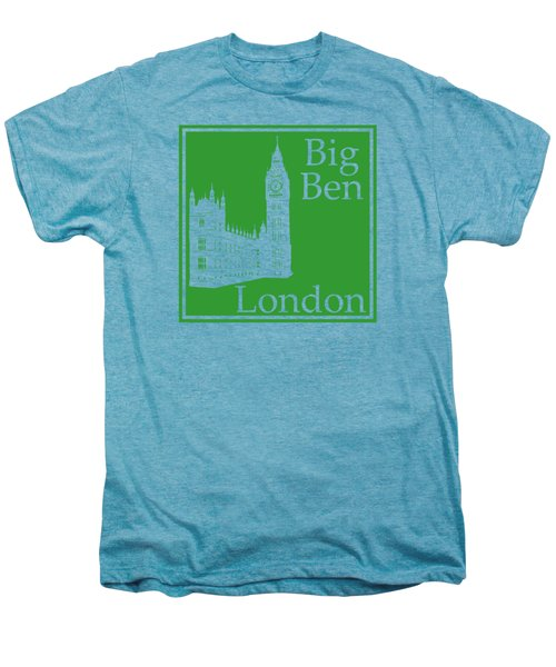 London's Big Ben In Dublin Green Men's Premium T-Shirt by Custom Home Fashions