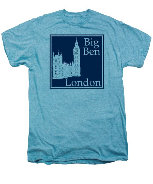 London's Big Ben In Oxford Blue Men's Premium T-Shirt by Custom Home Fashions