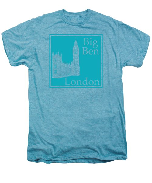 London's Big Ben In Robin's Egg Blue Men's Premium T-Shirt by Custom Home Fashions