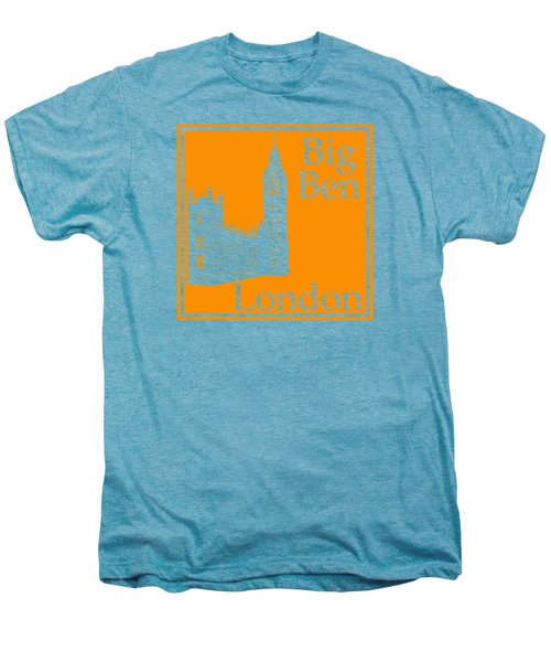 London's Big Ben In Tangerine Men's Premium T-Shirt by Custom Home Fashions