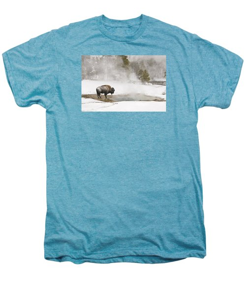 Men's Premium T-Shirt featuring the photograph Bison Keeping Warm by Gary Lengyel