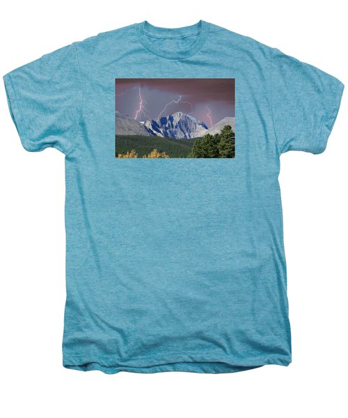 Longs Peak Lightning Storm Fine Art Photography Print Men's Premium T-Shirt