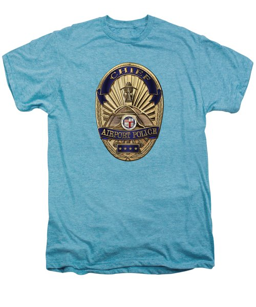Los Angeles Airport Police Division - L A X P D  Chief Badge Over White Leather Men's Premium T-Shirt by Serge Averbukh