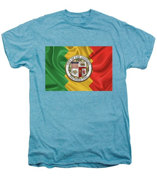 Los Angeles City Seal Over Flag Of L.a. Men's Premium T-Shirt by Serge Averbukh