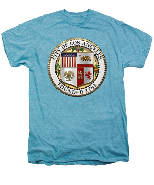 Los Angeles City Seal Over White Leather Men's Premium T-Shirt by Serge Averbukh