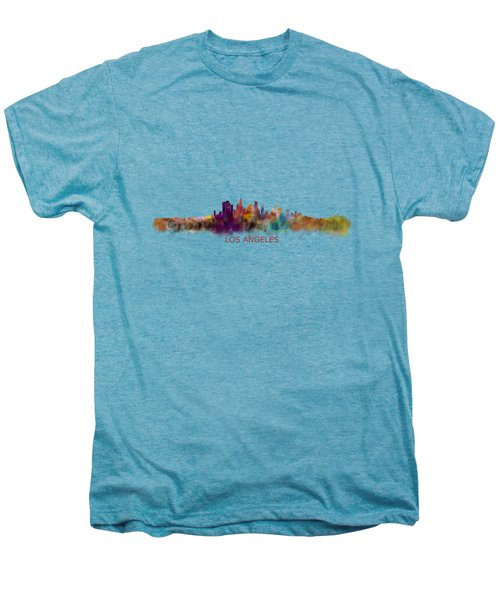 Los Angeles City Skyline Hq V2 Men's Premium T-Shirt by HQ Photo