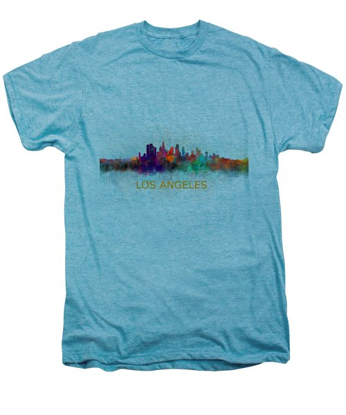 Los Angeles City Skyline Hq V4 Men's Premium T-Shirt by HQ Photo
